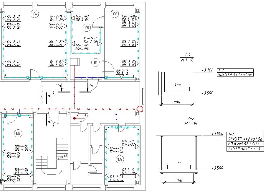 Кабель канал на схеме